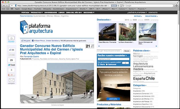 Publicaci n municipalidad de alto del carmen for Plataforma de arquitectura